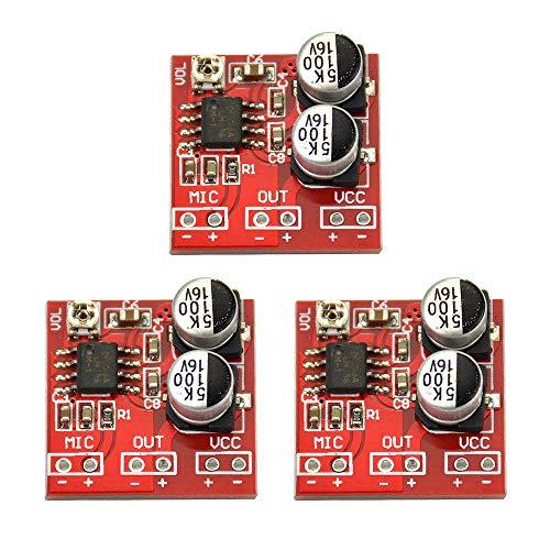 Refaxi Placa De Amplificador De Potencia De Micrófono, DC 3.7V-12V LM386 Placa De Amplificador De Potencia De Micrófono Electret Ganancia 200 Veces (3 Piezas)
