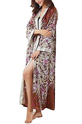 Dolamen Mujer Vestido Kimono Satén, Camisón para Mujer, Flores Florales Robe Albornoz Dama de Honor Ropa de Dormir Pijama, Estilo Largo 2018 Estilo (Ancho del Busto: 112cm, Marrón)