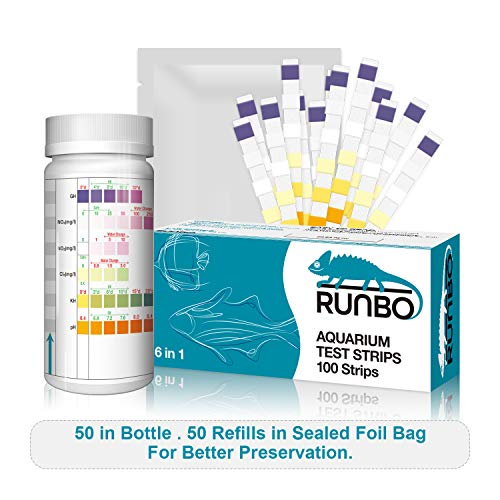 RUNBO Aquarium 6 in 1 Test Strips 100 Counts Easy and Accurate Test NO2, NO3, GH, KH, PH, Cl2