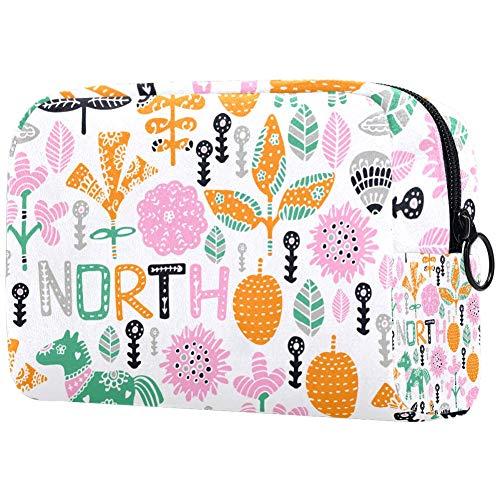 Make-up tas toilettas voor vrouwen schattige planten paard huidverzorging cosmetische handige zak rits handtas