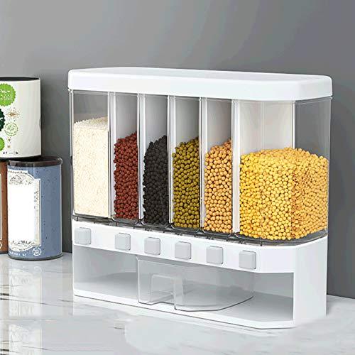 Vorratsdosen 6 Zellen Hochwertiger Kunststoff, Feuchtigkeitsbeständiger Lebensmittelspender Mit Großer Kapazität, Getreidespeicherbox, Getreidespender Für Küchenarbeitsplatten Zu Hause Restaurant