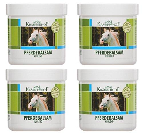 4 x Pferdebalsam kühlend 500 ml Gel Kältegel Pferdesalbe Salbe Balsam Massage mit wertvollen Kräuterextrakten aus Rosskastanie, Arnika, Rosmarin und Minzöl
