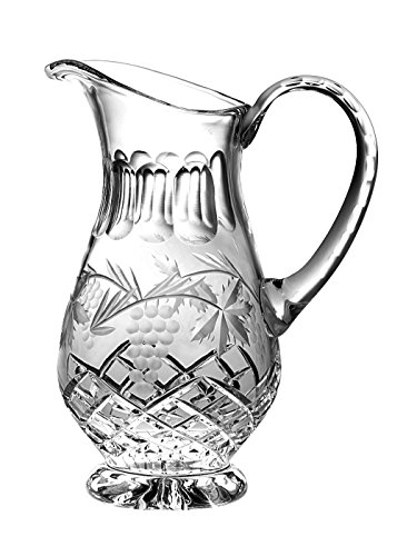 Barski - Hand Cut - Mouth Blown - Crystal Footed Pitcher - with Handle - With Grapevine Design - 54 oz. - Made in Europe