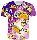 Loveternal Pizza Katze T-Shirt 3D-Muster gedruckt lässig Grafik Kurzarm Tops T für Frauen Männer XL