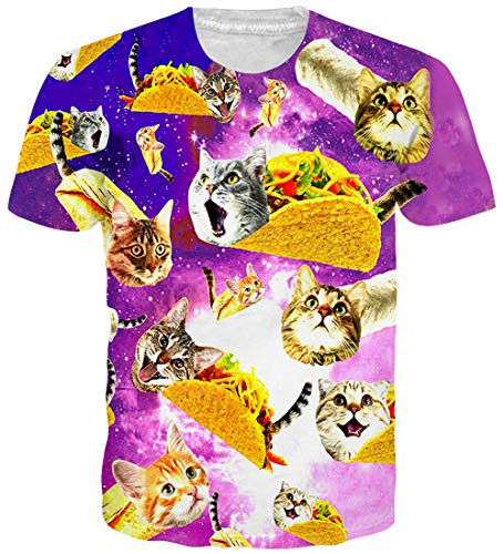 Loveternal Camicia Uomo 3D Stampato Pizza Cat T-Shirt Divertenti Pizza Gatto Magliette Casual Manica Corta Camicia S