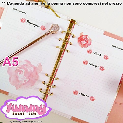 A5 - REFILL handmade per agende planner Ricette Spignatto Cosmetici Fatti in casa Rose