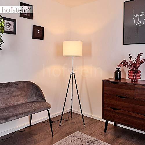 Stehleuchte Honoa, moderne Bodenlampe aus Metall in schwarz-Chrom, 1-flammige runde Standlampe mit Stoffschirm in weiß, 1 x E27 max. 40 Watt, für LED Leuchtmittel geeignet