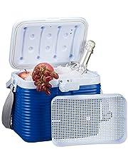 Relaxdays, wit-blauw kleine koelbox, met handvat, draagriem, kunststof koeltas, zonder stroom, 8 l, HBD 23,5 x 31 x 21 cm
