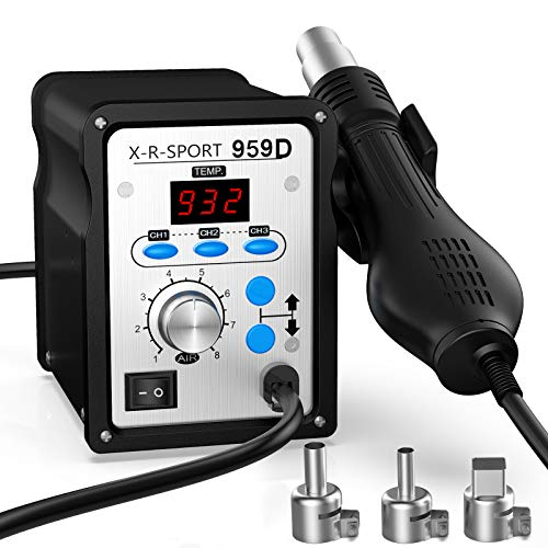 959d hot air soldering station, hot air rework station heats up very quickly with soldering heat gun,three Preset Channels,°F /°C Display conversion, 3 pcs of Nozzles.