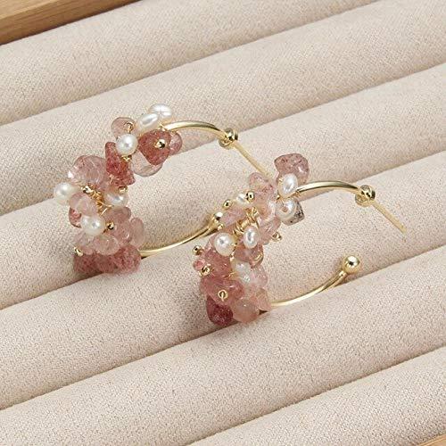 DJMJHG Pendientes de aro Joyería Fresa Cristal Verde Piedra Natural Pendientes de Perlas de Agua Dulce para Mujer Regalo Moda2
