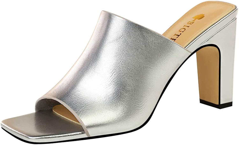 XHCP Sandalen Mode einfache Tendenz dick mit hochhackigen quadratischen Kopf dünne weibliche Sandalen und Hausschuhe,D,40