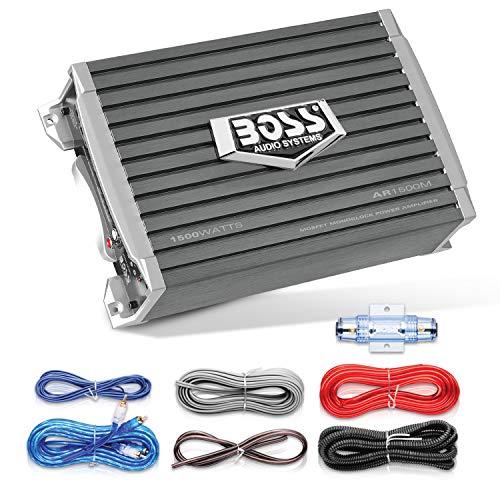 BOSS Audio AR2500M Armor 2500-watt Monoblock, Clase A/B 2-8Ohm Estable Monoblock Amplificador con Mando a Distancia Control de Nivel Subwoofer