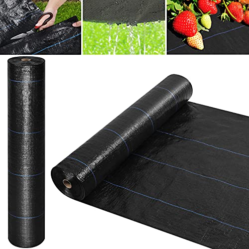 Wokkol Weed Control Fabric, Weed Barrier Fabric, Landscape Fabric, Garden Membrane 100g/m² UV, Ideal for Garden, Flower Beds, Pathways (4 Garden Pegs, 4 Buffer Washers) (2X24M)