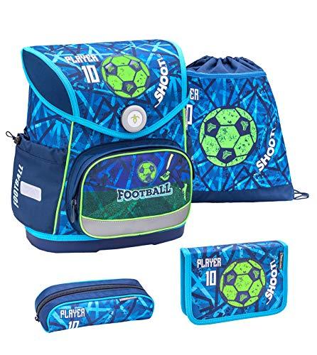 Belmil ergonomischer Schulranzen Set 4 -teilig für Jungen 1-4 Klasse Grundschule//Brustgurt/Magnetverschluss/Football, Fußball/Blau, Blue (405-41 Play Football)