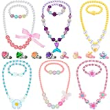 Girl Princess Necklace Bracelet Jewelry Set Includes 6 Sets Girls Beaded Necklace Bracelet with 8 Rings for Dress Up Party Cosplay Accessories (Heart, Flower Style)