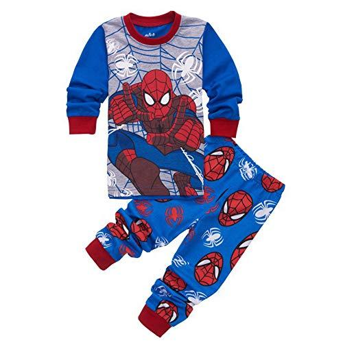 Jungen Schlafanzug Spiderman Nachtwäsche Kinder Sleepwear Pyjama Nachthemd T-Shirt und Hose Outfits (C Blue,120cm)