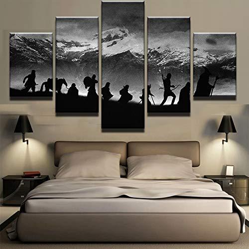 Arte de la pared modular Cuadro de fotos al óleo Decoración para el hogar moderna 5 piezas El Señor de los anillos Lienzo Pintura Carteles e impresiones de películas PENGDA-, 20x35 20x45 20x55cm