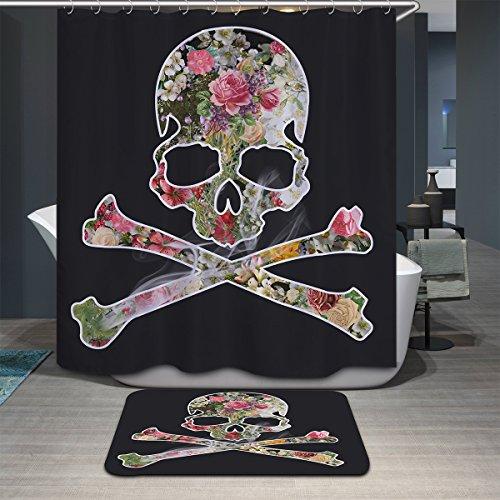 Antart Rideau de Douche Crâne 180x180cm et Tapis de Bain Assortissant - Tissu Polyester Imperméable Anti-moisissure Imprimé Numérique Avec 12 Crochets - Accessoires Salle de bain - Thème Cool