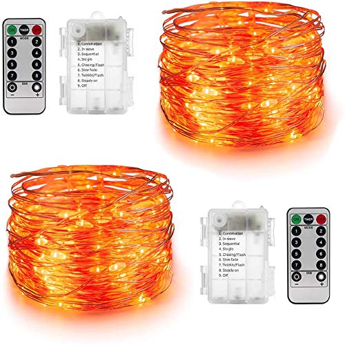 YIHONG 2 Sets Orange Fairy String Lights Battery Operated,16.4ft 50Leds Twinkle Firefly Lights with Remote Control Fairy Lights for Halloween Christmas Bedroom Patio Wedding Party Indoor Outdoor Decor