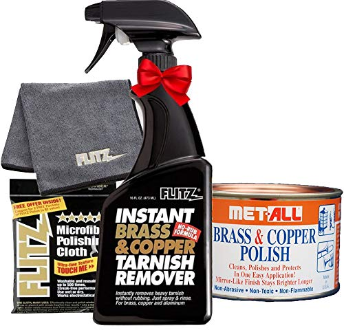 Flitz BC 01806 Instant Brass and Copper Tarnish Remover 16 oz Spray Cleaner + 16 oz Metal Polish Paste Cream + EXTRA LARGE Microfiber Cloth Shine Away Corrosion