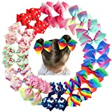 CellElection 24Pcs Pinwheel Hair Bows For Girls 4.5 Inch Colorful Grosgrain Ribbon Bows With Alligator Hair Clips Pigtail Bows In Pairs For Baby Girls Toddlers Kids Children hair clip in extensions Nov, 2020