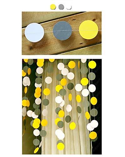 CiMi Banner Colorido Guirnalda de Puntos Círculo de Papel para Fondo de Lienzo Decorado Pieza Parcial Variada - Longitud Total 12 m (Amarillo + Gris + Blanco)