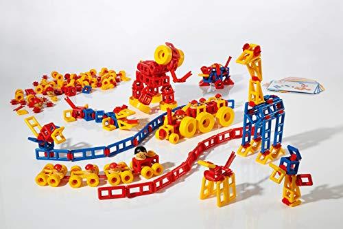 Plasticant Mobilo 330 Konstruktions-Set II, 424 Teile inkl. 12 große Räder & 16 Bauanleitungen 330-Konstruktions-Set, rot, gelb, blau