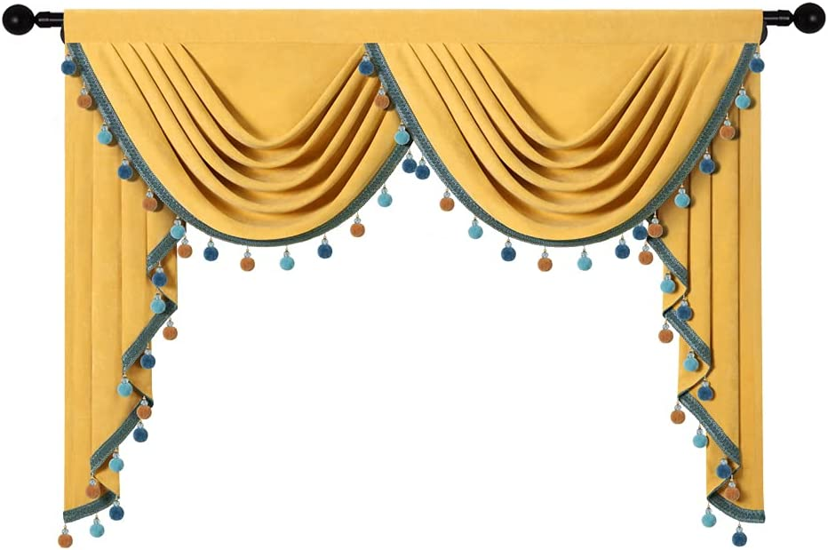 ◆在庫限り◆ Double-Sided Velvet Waterfall Valance for 超安い Yellow Vel Living Room