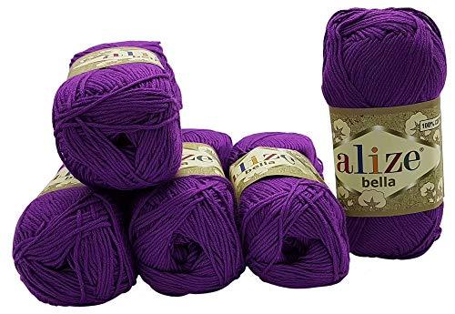 Alize Bella 5 x 50 Gramm Baumwolle einfarbig, 250 Gramm Wolle aus 100% Baumwolle, Strickwolle (lila 45)
