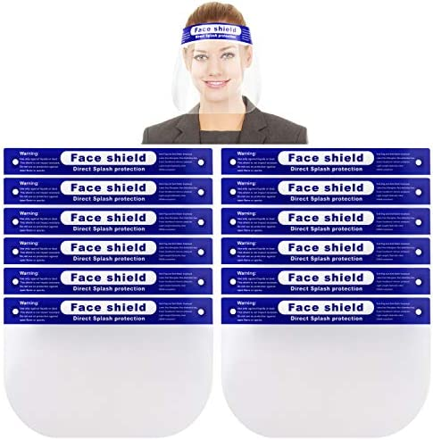 Reusable Face Shield 12 PACK Anti fog Full Safety Face Shield Universal Reusable Face Protective product image