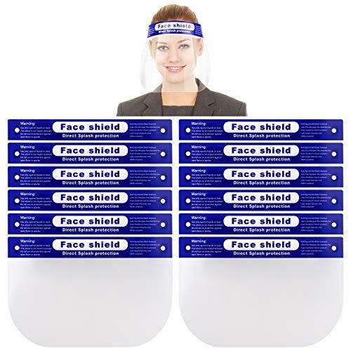 Reusable Face Shield, 12 PCS Anti-fog Full Safety Face Shield, Universal Reusable Face Protective Visor for Eye Head Protection, Anti-Spitting Splash Facial Cover for Women, Men