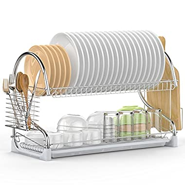 Dish Drying Rack, iSPECLE 2 Tier Dish Rack with Utensil Holder, Cutting Board Holder and Dish Drainer for Kitchen Counter Top, Plated Chrome Dish Dryer Silver 22.0 X 9.7 X 14.6 inch