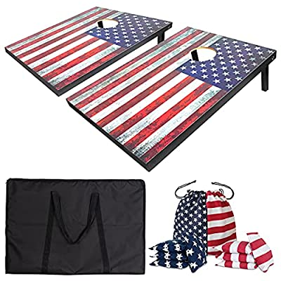 Nattork Premium Cornhole Set - Includes 2 Regulation Size Cornhole Boards, 8 All-Weather Cornhole Bags, Travel Case, Cornhole Game Set for Indoor Outdoor Toss Games Competitions