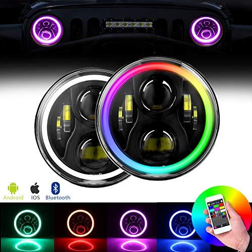 "DOT Approved Jeep Wrangler Headlights RGB Halo Angel Eye 60W 7"" LED Headlight with High Low Beam for Jeep Wrangler CJ TJ LJ JK JKU Rubicon Sahara Hummer H1 H2"