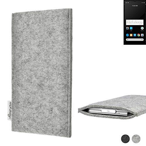 flat.design Handy Hülle Porto für Carbon 1 MKII maßgefertigte Handytasche Filz Tasche Schutz Hülle fair grau