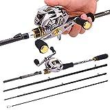 FISHYY Fishing Rod Baitcast Rod Reel Combo Portable 4 Section M Power Casting Fishing Pole With 11+1Bb Fishing Reel Kit