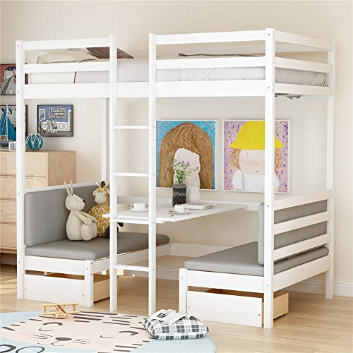 Functional Wood Twin Over Twin Bunk Bed, Convertible Dorm Loft Bed with Desk and Two Storage Drawers for Kids Teens(Cushion Sets are Free)…