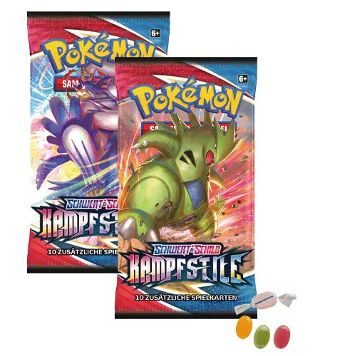 Pokemon Schwert & Schild - Kampfstile - 2 Booster - Deutsch zusätzlich 1 x Sticker-und-co Fruchtmix Bonbon