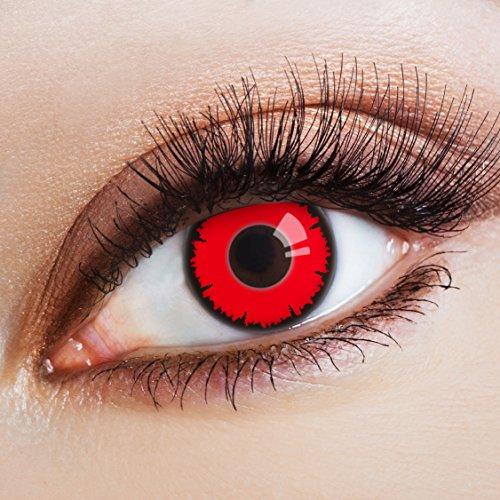aricona Kontaktlinsen Farblinsen - Rote Kontaktlinsen mit schwarzem Rand - Halloween Kontaktlinsen farbig ohne Stärke