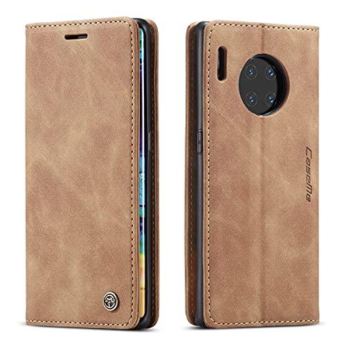 YFXP Kompatibel mit Huawei Mate 30 Pro Lederhülle Hülle 2 Kartenschlitze mit magnetischem Verschluss Brieftasch-Stil Kartenfach Magnet Hülle