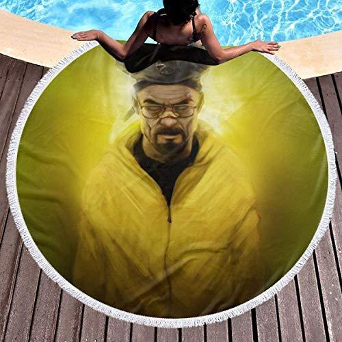 Breaking Bad Toalla de playa redonda de gran tamaño Ultra absorbente de agua Manta de microfibra suave Toalla de playa Estera de yoga Decoración del hogar Estera de picnic Cubierta de cama Tapiz Manta