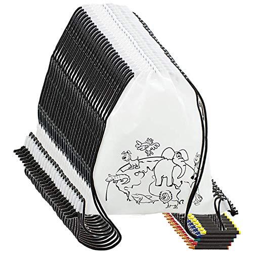 Partituki Mochila Colorear. 10 Mochilas de Colorear y 10 Sets de 5 Ceras de Colores. Ideal para Detalles Cumpleaños Infantiles y Regalos Cumpleaños Niños