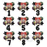 Ysguangs Globos 6pcs Mario Globos de 30 Pulgadas Número Fiesta de cumpleaños de la Muchacha del Muchacho Globos de Mylar Globo Bros Juego Decoración (Color : Black Set, Shape : 7)