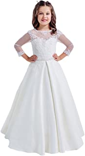 Lace Long Sleeves Hollow Back First Communion Dresses 2-12 Year Old