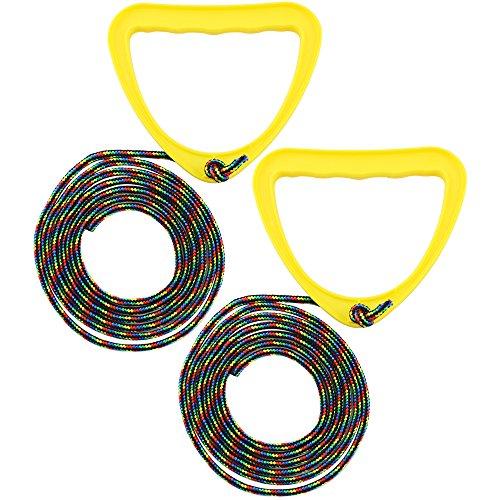 com-four® 2X Schlittenleine mit Griff, Rodel-zubehör Zugseil für Schlitten, Dreirad oder andere Kinderfahrzeuge (02 Stück gelb)
