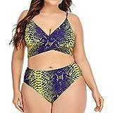 fashsgirl Women's Plus Size Tankini Swimsuits Two Piece Bathing Suits Snake Printed Tummy Control Bikini Beachwear with Short Gold