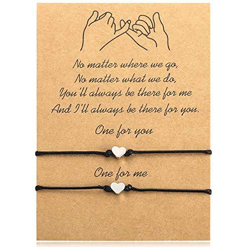 Ralukiia Handmade Rope Heart Bracelet for 2, Lucky Bracelets for Women Girls Friend Boyfriend Gift Matching Bracelets Black