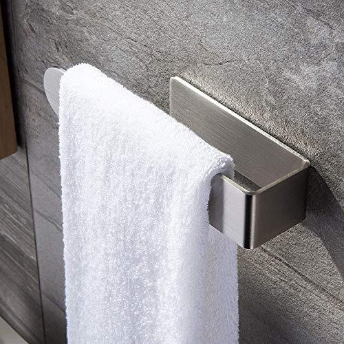 Toallero de mano autoadhesivo, acero inoxidable, sin perforaciones, para accesorios de baño y cocina, estilo minimalista moderno, longitud 23 cm