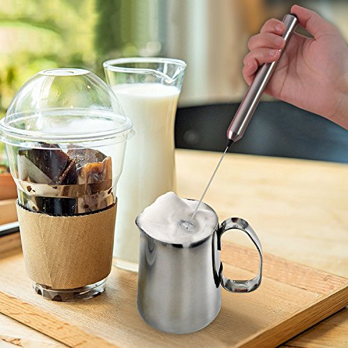 Premium Electric Milk Frother, Portable Handheld Drink Mixer, Battery Operated Frother Maker for Coffee, Latte, Cappuccino, Hot Chocolate + Free Coffee Art Pen