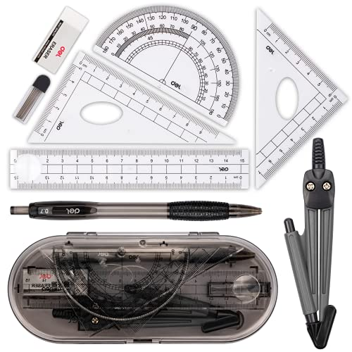 Compass Set, Muscccm Compass for Geometry Math Geometry Kit 8 Pieces - Student Supplies Drawing Compass, Protractor, Rulers, Pencil Lead Refills, Pencil, Eraser for Students and Engineering Drawing